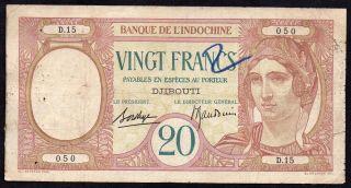 French Somaliland - 20 Francs 1926 - 38,  Djibouti,  P 7 photo