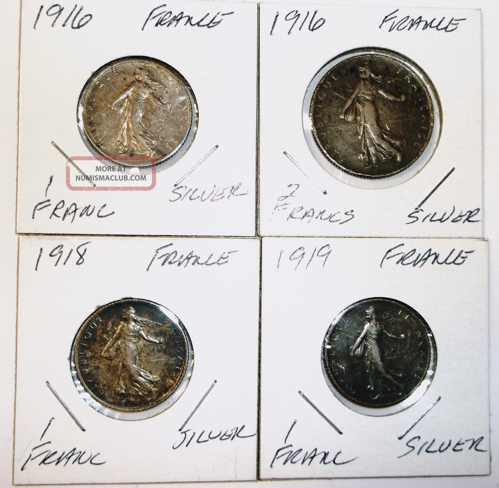 1916 1 - Franc,  1916 2 Francs,  1918 1 Franc,  1919 1 Franc - France -.  835 Silver - 4 - Europe photo