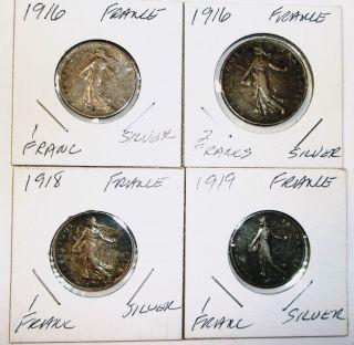1916 1 - Franc,  1916 2 Francs,  1918 1 Franc,  1919 1 Franc - France -.  835 Silver - 4 - photo