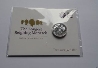 Silver £20 Coin 2015 The Longest Reigning Monarch photo