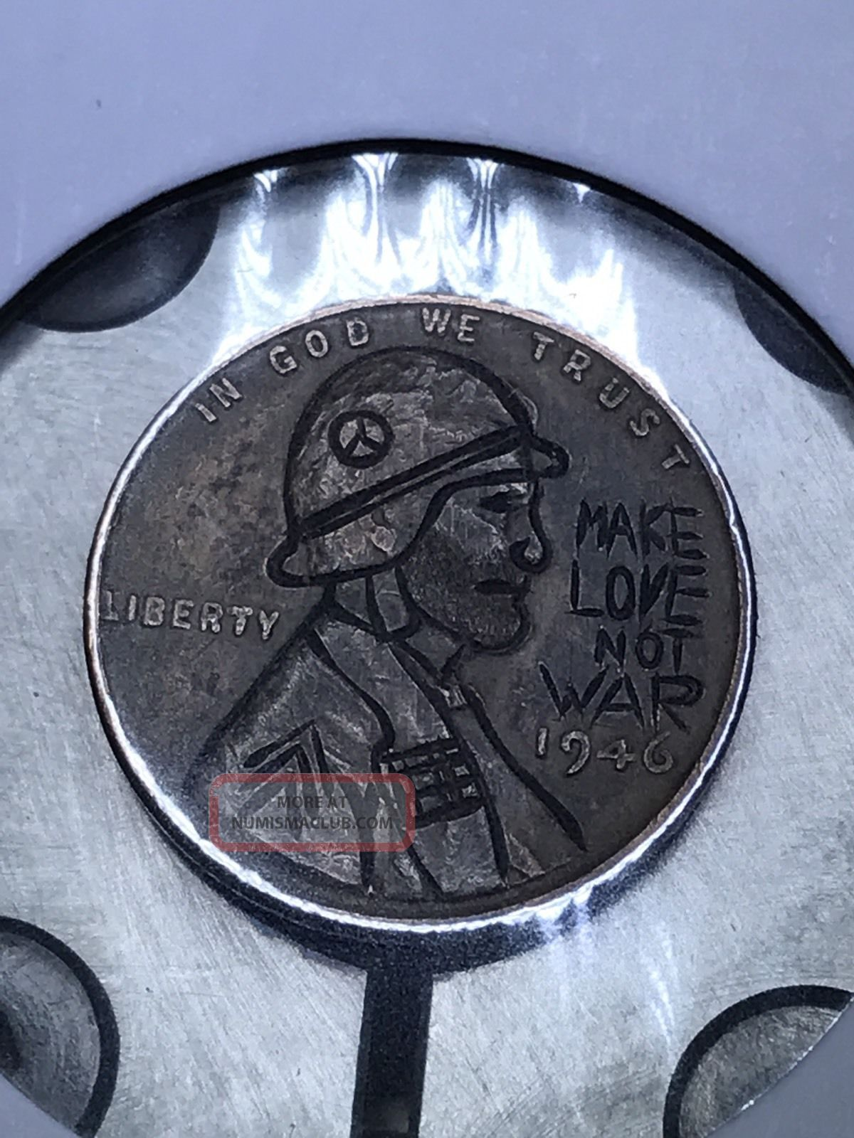 Coin Art Hobo Nickel Make Love Not War 101 Exonumia photo