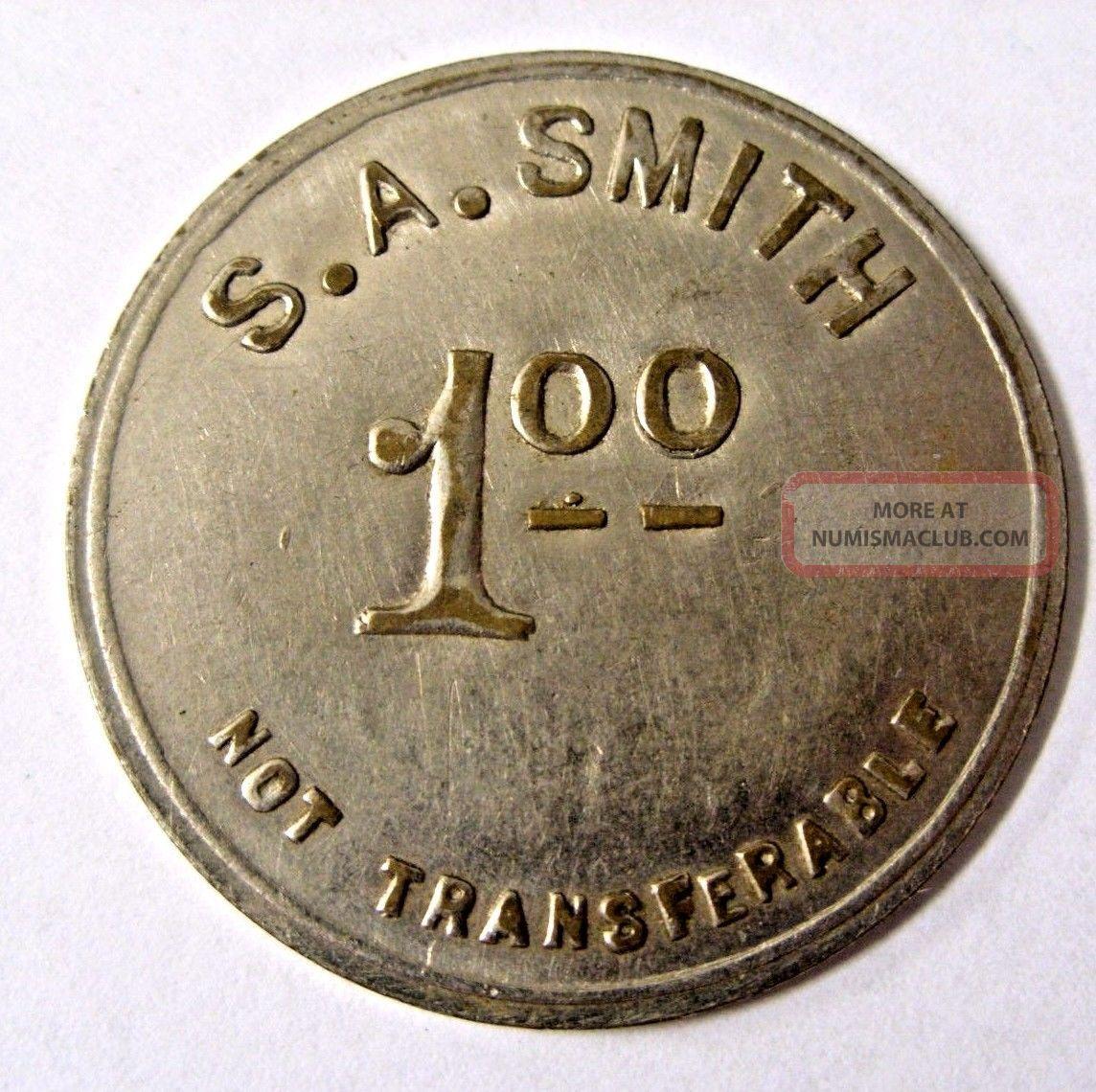 Circa 1915 Pat.  April 7th 1914 / S.  A.  Smith Token 1 Ingle System Virginia Baker Exonumia photo
