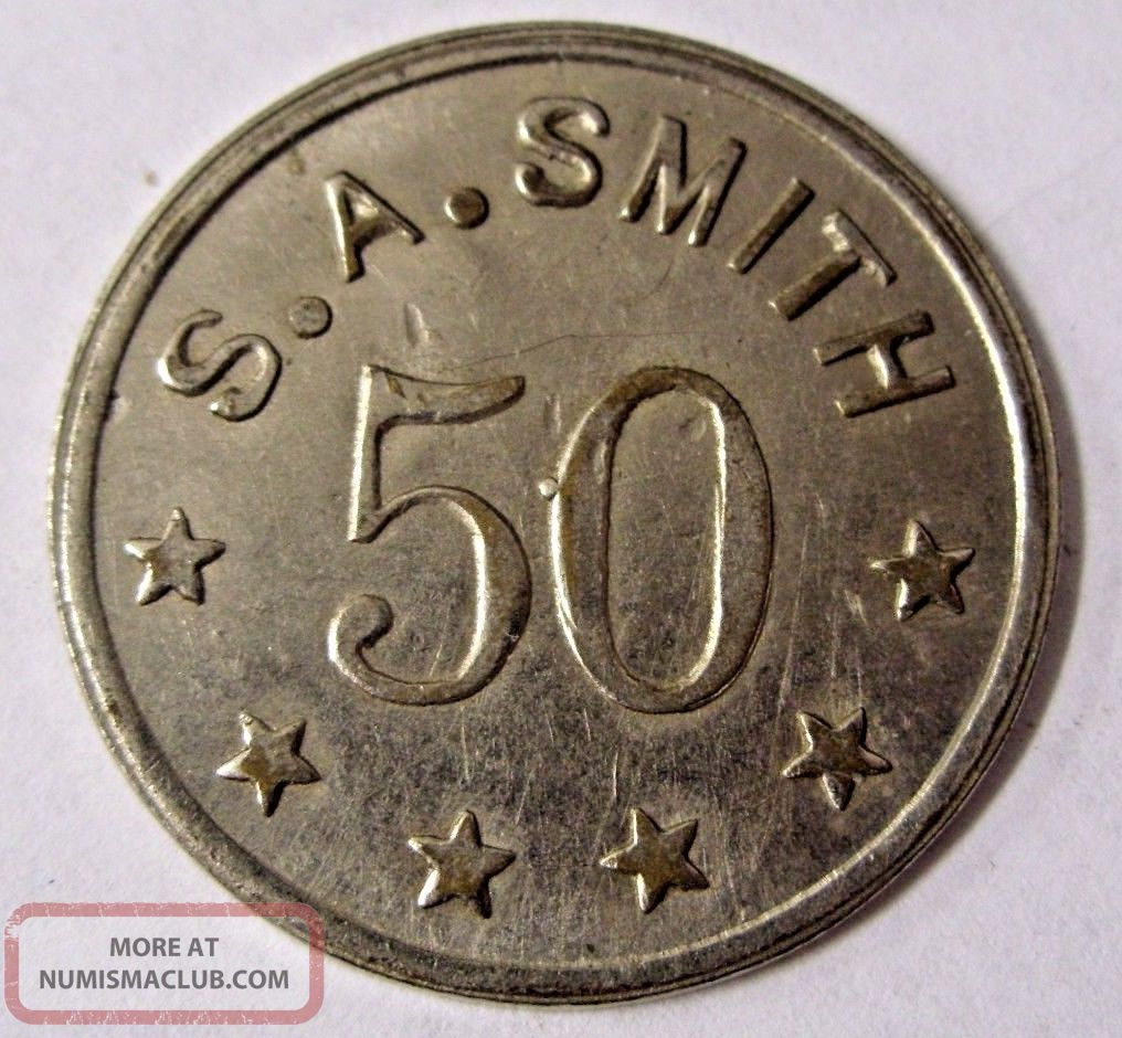 Circa 1915 Pat.  April 7th 1914 / S.  A.  Smith Token 50 Ingle System In Trade Only Exonumia photo