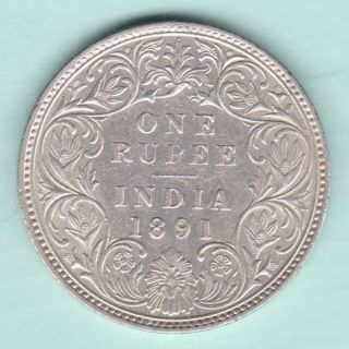 British India - 1891 - Victoria Empress - One Rupee - Rare Coin photo