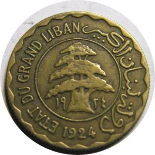 Elf Lebanon French 2 Piastres 1924 Cedar Tree photo