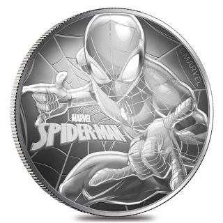 2017 1 Oz Tuvalu Spiderman Marvel Series Silver Perth Coin With Capsule photo