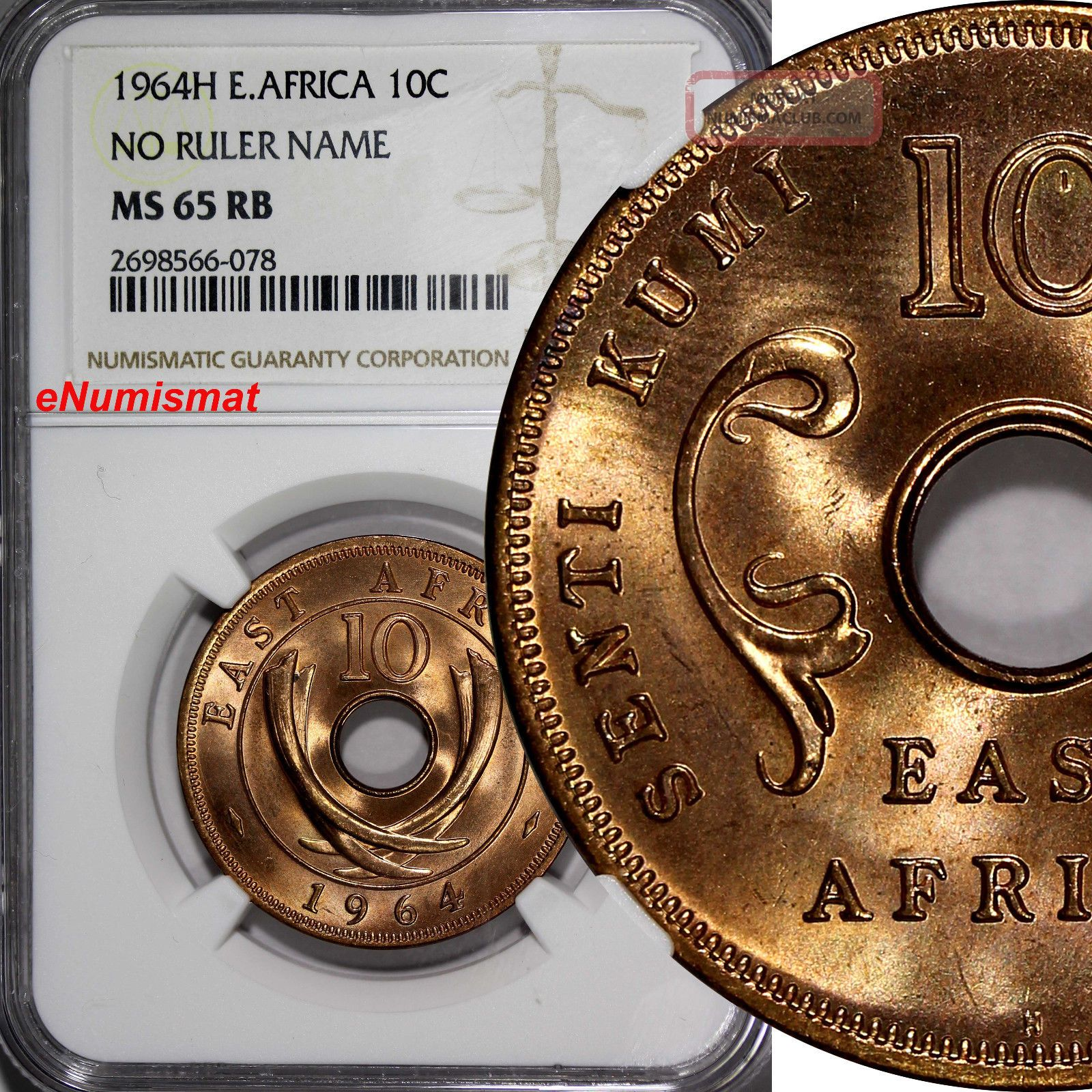 East Africa Bronze 1964 - H 10 Cents Ngc Ms65 Rb No Ruler Name Top Graded Km 40 Africa photo