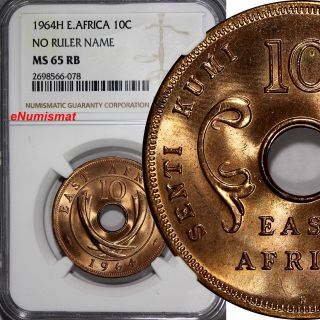 East Africa Bronze 1964 - H 10 Cents Ngc Ms65 Rb No Ruler Name Top Graded Km 40 photo