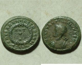 Constantine Ancient Roman Christian Coin/wreath Star Vows V Thessalonica photo