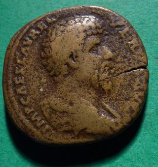Tater Roman Imperial Ae Sestertius Coin Of Lucius Verus Galley Rare photo