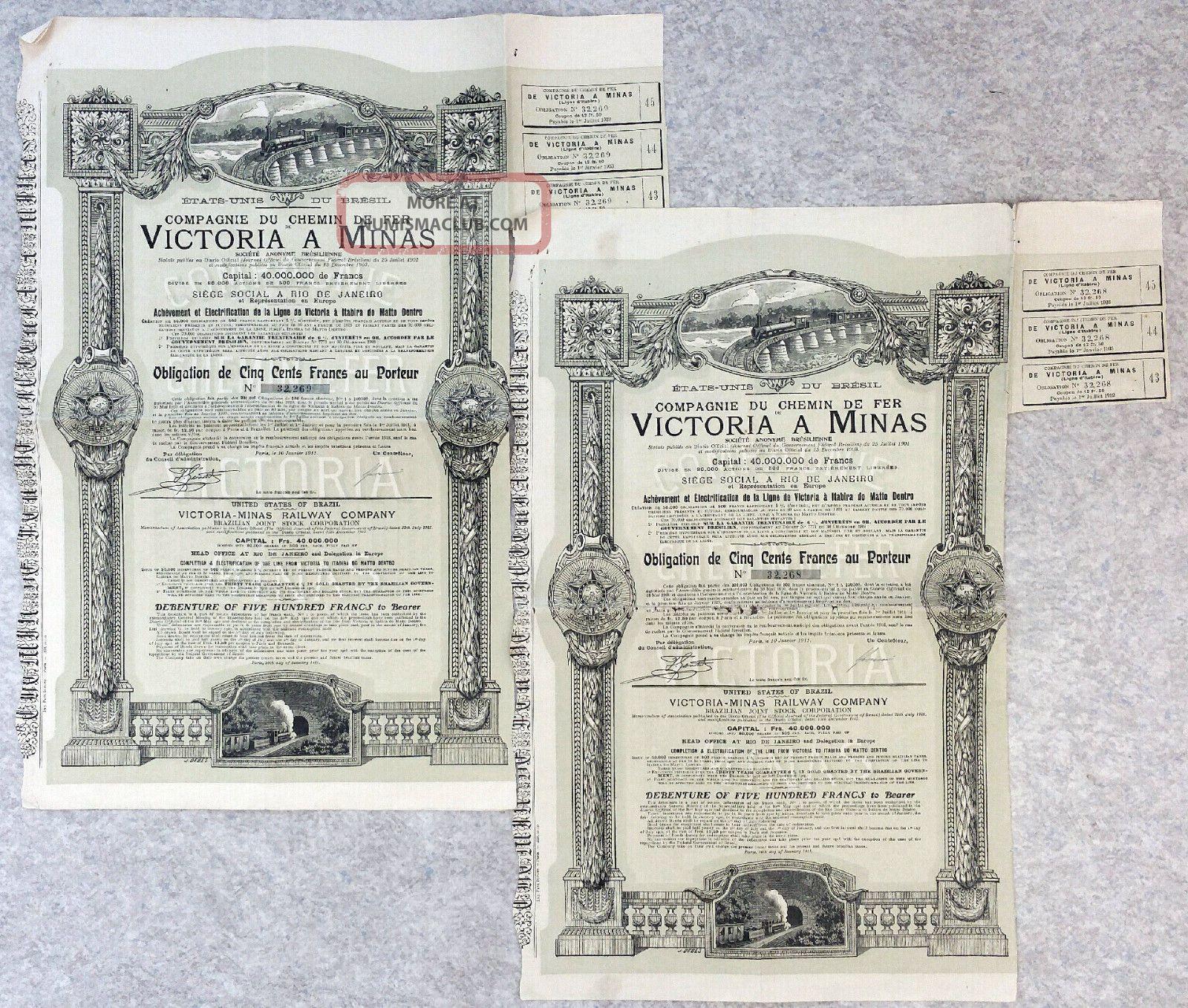 Brazil 1911 - Victoria A Minas Railway Co Bond Of 500 Frs X2 Stocks & Bonds, Scripophily photo