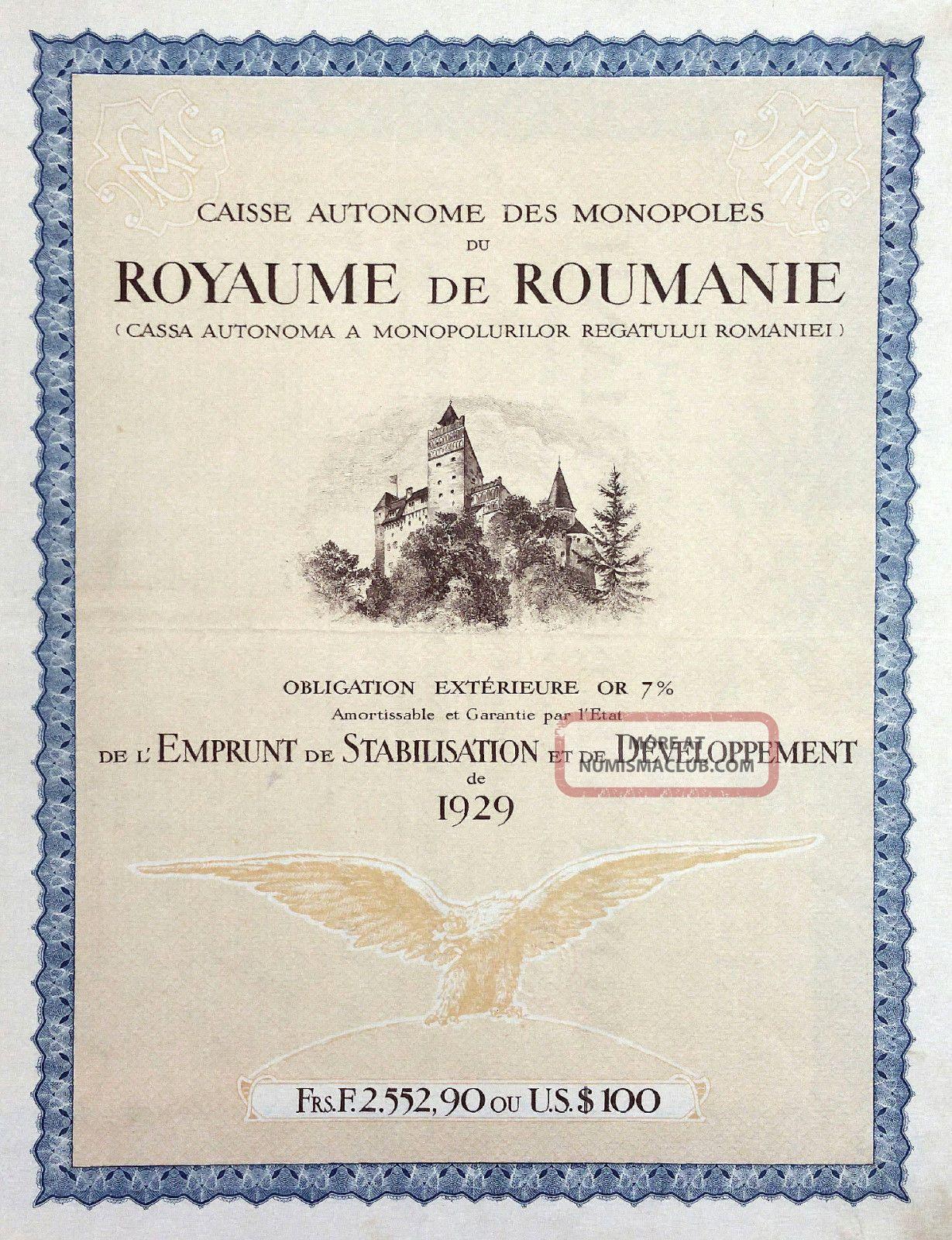 Romania 1929 - Caisse Des Monopoles Du Royaume De Roumanie Gold Bond 7 Stocks & Bonds, Scripophily photo