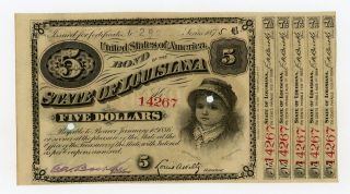 1875 $5 The State Of Louisiana Baby Bond Cu photo