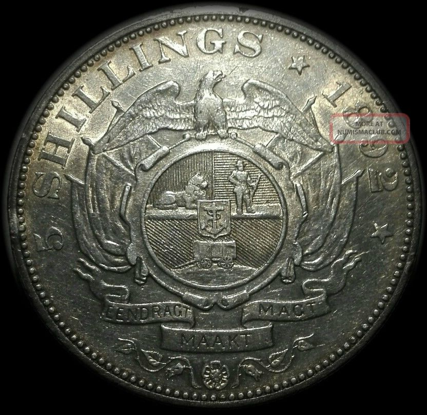 1892 South Africa Zar Kruger Silver Crown (5s) 5 Shillings Single Shaft South Africa photo