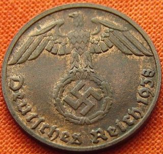 Ww2 German 1938 - D 1 Rp Reichspfennig 3rd Reich Bronze Nazi Coin (rl 1516) photo