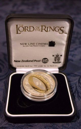 2003 Lord Of The Rings $1.  00 Silver Proof Coin,  Display Case One Ring photo