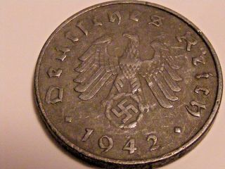 Ww2 1942 A German 10 Rp Reichspfennig 3rd Reich Nazi Coin photo
