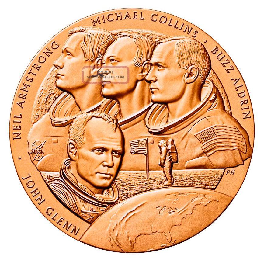 John Glenn Jr Medallion Bronze Coin & Apollo 11 Nasa Moon ...