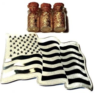 1 Troy Ounce.  999 Fine Silver Smi American Flag Bar Bu,  3 Jars 24k Gold Flakes photo