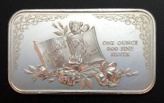 1973 Mothers Day 1 Troy Oz.  999 Fine Silver Bar (mb3) photo