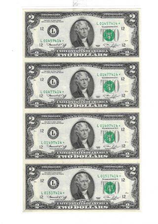 1976 Uncut Sheet Of 4 Crisp Usa 2 Dollars Uncirculated $2 Legal Money Gift Bills photo