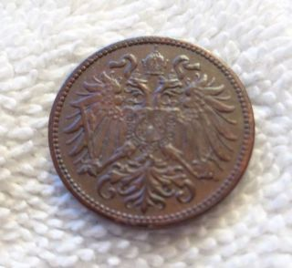 1911 Austria 2 Heller Coin - Double Headed Eagle - With Big