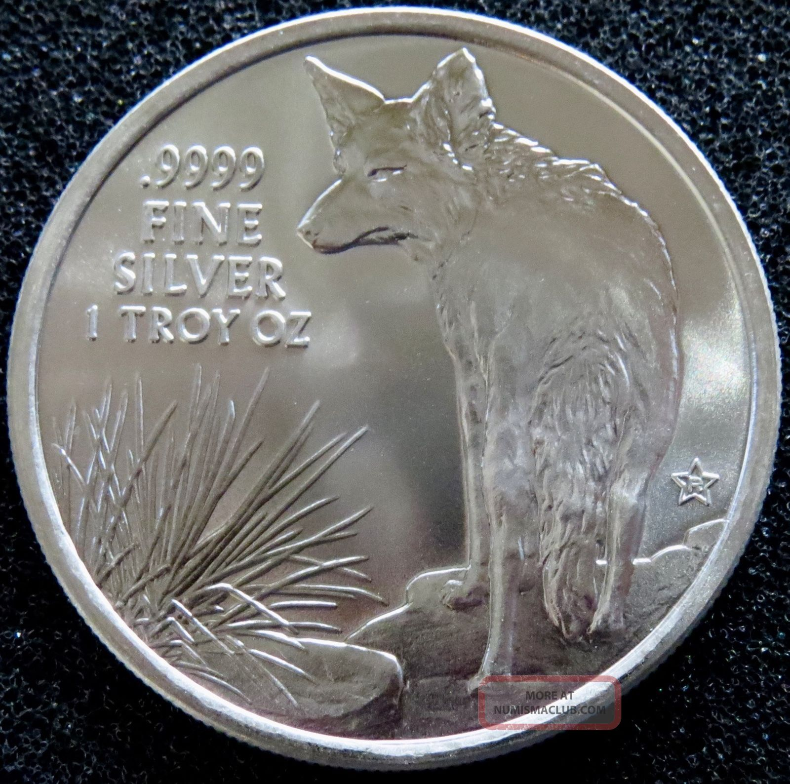 2016 1 Oz Silver Texas Round Coyote Reverse 9999