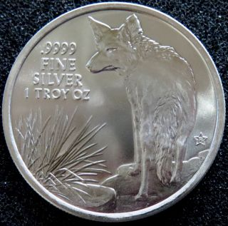 2016 - 1 Oz Silver Texas Round - Coyote Reverse -.  9999 Fine Silver Bu photo