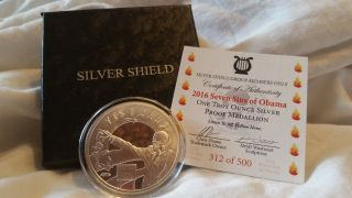 2016 Silver Shield 1 Oz.  999 Ag Proof Round 7 Sins Of Obama - 500 Mintage photo