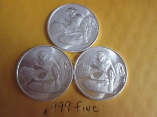 3 X 1 Oz.  999 Fine Silver Gold Prospector Divisible Barter Bullion Round photo