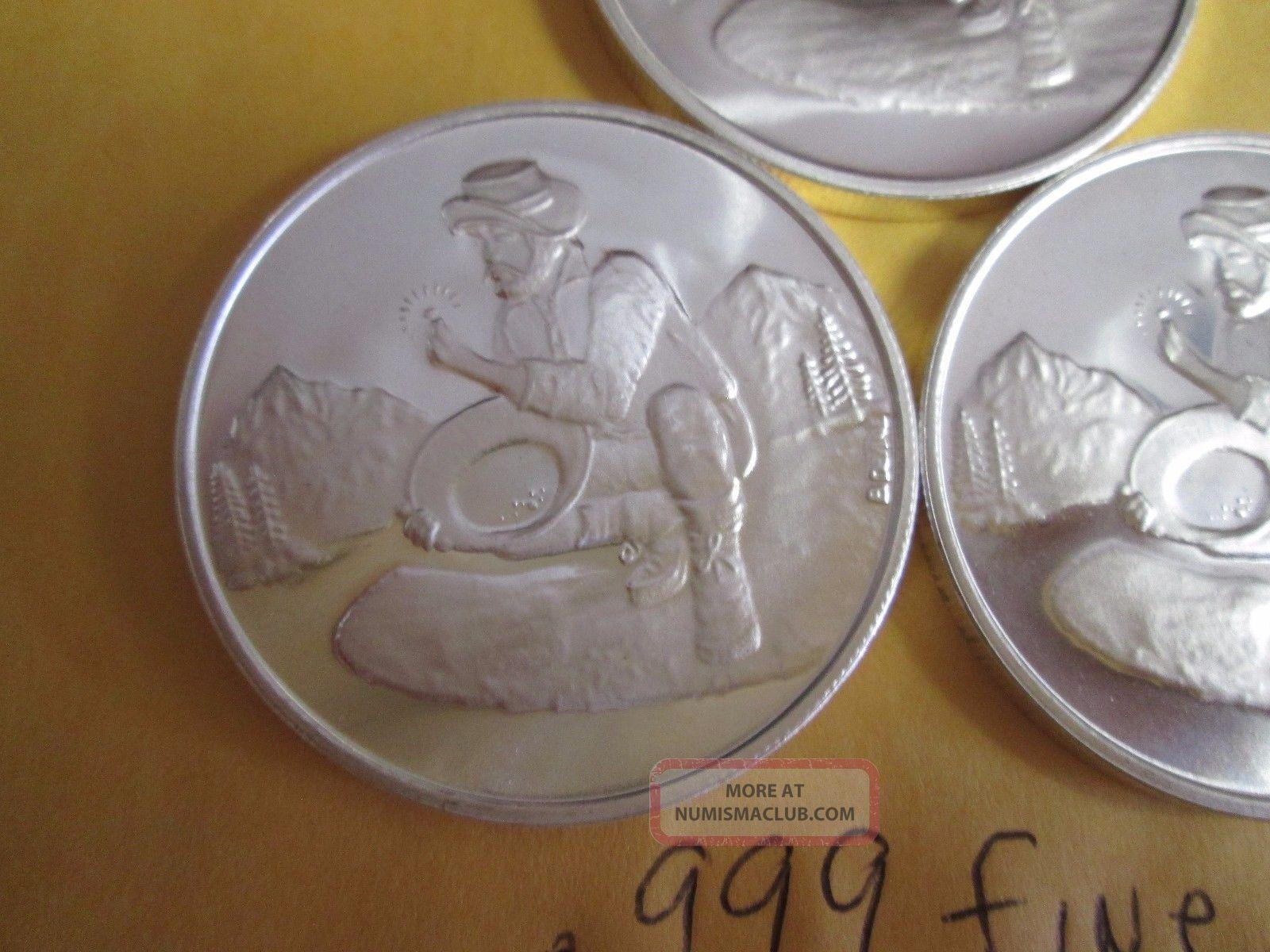 3 X 1 Oz 999 Fine Silver Gold Prospector Divisible Barter