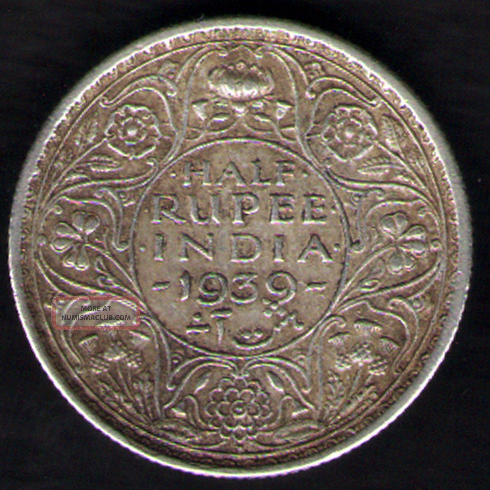 British India - 1939 - George Vi 1/2 Rupee Silver Coin Ex - Rare Coin India photo