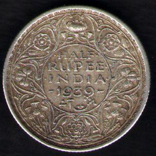 British India - 1939 - George Vi 1/2 Rupee Silver Coin Ex - Rare Coin photo
