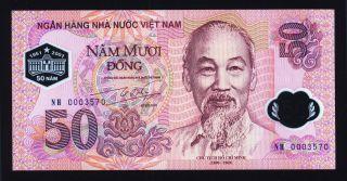 Vietnam 50 Dong 2001 Unc,  Pick 118,  Polymer,  Commemorative With Folder photo