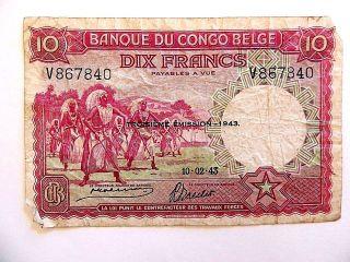 1943 Belgian Congo Ten (10) Francs Note photo