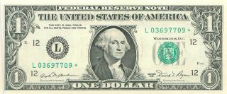 1981 Series L/ (san Francisco) Star Federal Reserve Note One Dollar Bill photo