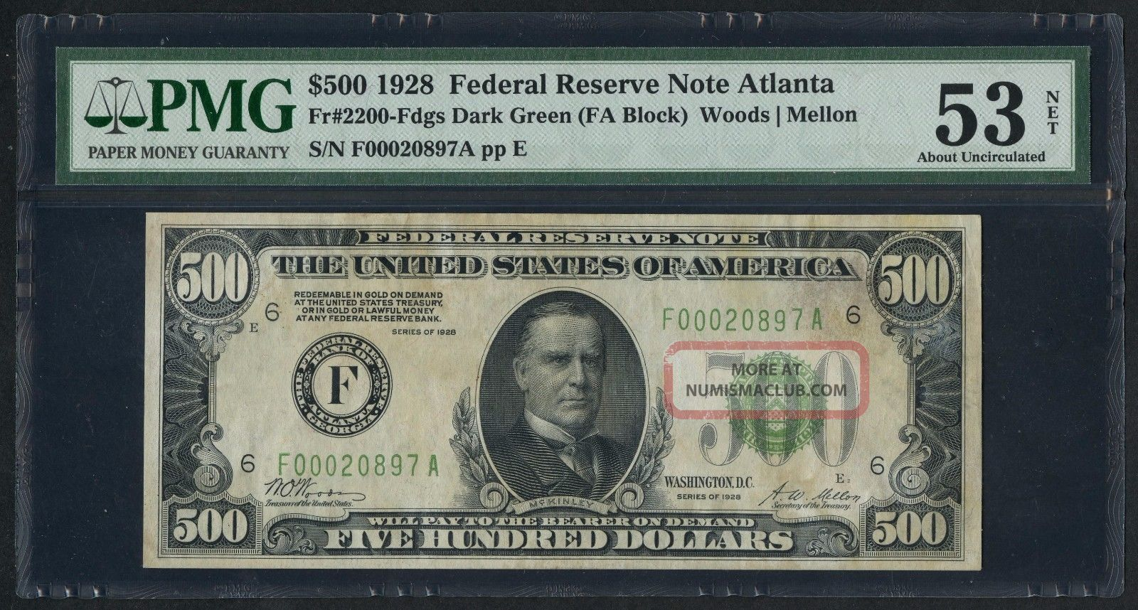 Fr2200 $500 1928 Series Frn Atlanta Pmg 53 About Unc (75 Recorded) Wlm3461 Small Size Notes photo