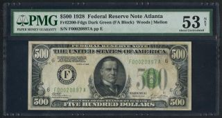 Fr2200 $500 1928 Series Frn Atlanta Pmg 53 About Unc (75 Recorded) Wlm3461 photo