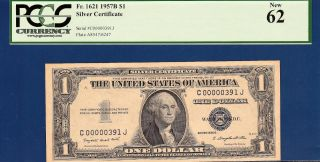 Low Serial Number 1935g $1 Silver Certificate - Pcgs Uncirculated 62 - C2c photo