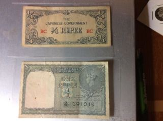Japanese Money - Burma: 1/4 Rupee Plate Block Bc And Gov Of India 1 Rupee photo