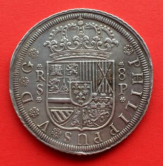 ¡¡ Rare Silver Coin 8 Reales Of Philip V.  Year 1729.  Sevilla.  P Extremely Fine photo