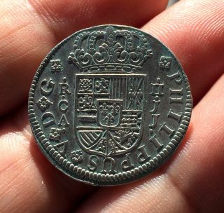 ¡¡ Rare Silver Coin 2 Reales Of Philip V.  Year 1725.  Cuenca (spain) J.  J photo