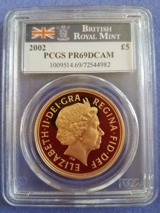 2002 Golden Jubilee 5 Pound Sovereing Gold Pr69dcam photo