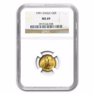 1991 1/10 Oz Gold American Eagle Ms - 69 Ngc - In Case - Rare Item (mcmxci) photo