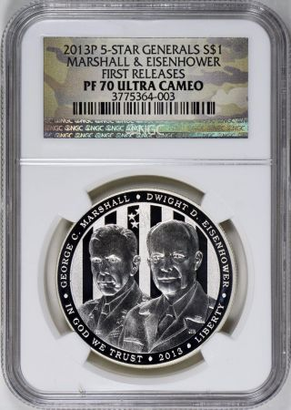 2013 P 5 Star Generals Ngc Pf 70 Ultra Cameo Marshall & Eisenhower Commemorative photo