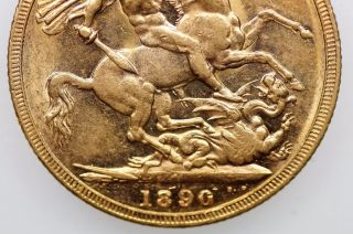 1890 Melbourne Gold Full Sovereign Jubilee Head In Very Fine photo