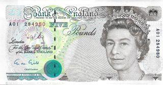1990 Bank Of England - Great Britain 5 Pounds Unc Pick: 382 Prefix: A photo
