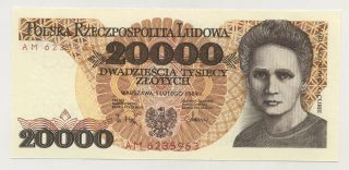 Poland 20000 Zlotych 1 - 2 - 1989 Pick 152 Unc Uncirculated Banknote photo