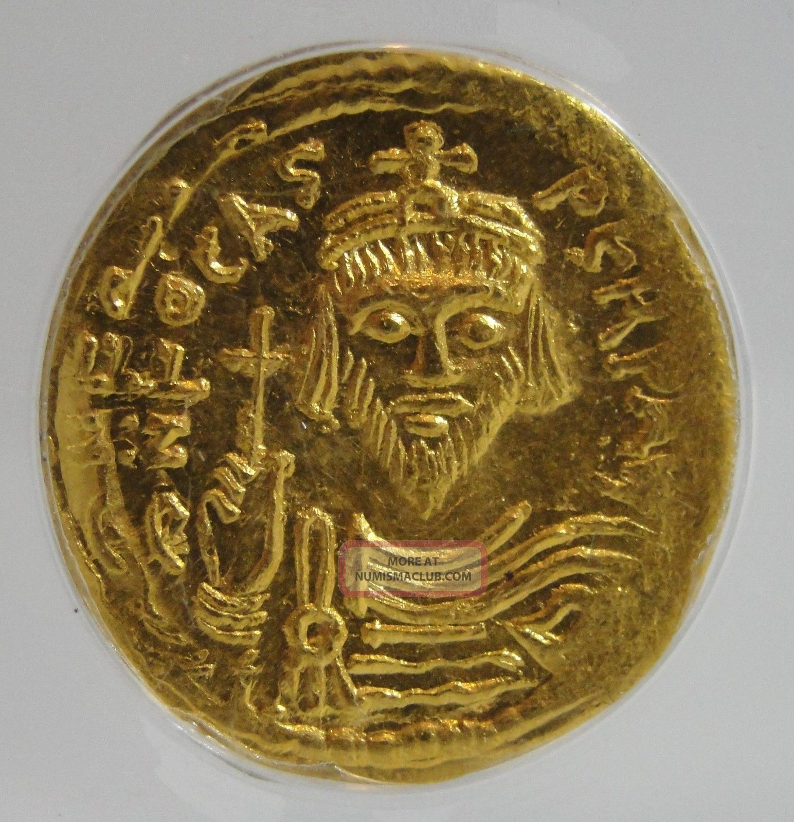Rare Anciemt Byzantine Empire Gold Coin Av Solidus Phocas Ad 602 - 610,  Anacs Ms60 Coins: Ancient photo