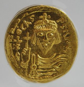 Rare Anciemt Byzantine Empire Gold Coin Av Solidus Phocas Ad 602 - 610,  Anacs Ms60 photo